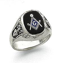 buy Men'S 14K White Gold Black Onyx Masonic Ring