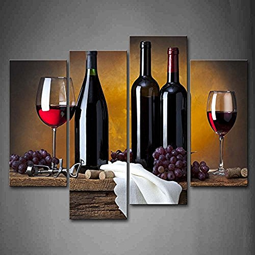 TMD Shop Grape Wine In Bottle Cups Wall Art Painting Pictures Print On Canvas Food The Picture For Home Modern Decoration (Food And Beverage Wall Art compare prices)