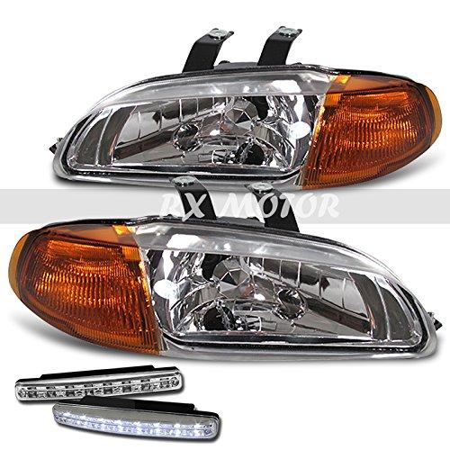 RXMOTOR HONDA CIVIC JDM 4DR HEADLIGHT SIGNAL LAMPS SEDAN + DRL LED FOG BUMPER PAIR (Jdm Parts For Honda Civic compare prices)