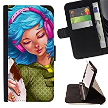 buy Jordan Colourful Shop - Blue Hair Woman Headphones Grunge Drawing For Lg Nexus 5 D820 D821 - < Leather Cover Case High Impact Absorption Case > -