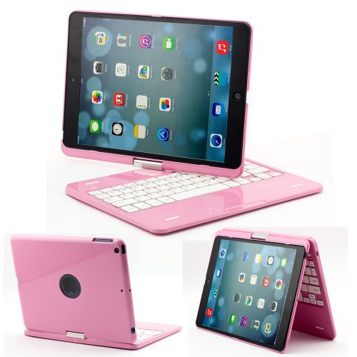 SUPERNIGHT 360 Degree Rotatable Swivel Wireless Bluetooth Keyboard Case with Multiple Viewing Angles for Apple iPad Air & iPad 5 Tablet. Color:Pink