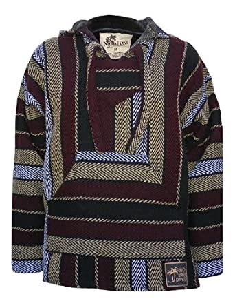 Amazon.com: Baja Hoodie Mexican Poncho Pullover - Cranberry Cream