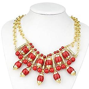 HONEYJOY Women Vintage Pillar Lantern Double Layer Beads Collar Necklace