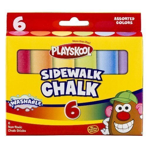 Playskool, Washable Sidewalk Chalk, Assorted Colors - 6 Sticks