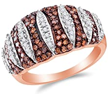buy Size 7 - 10K Rose Gold Chocolate Brown & White Round Diamond Fashion Ring - Prong Setting (3/4 Cttw.)