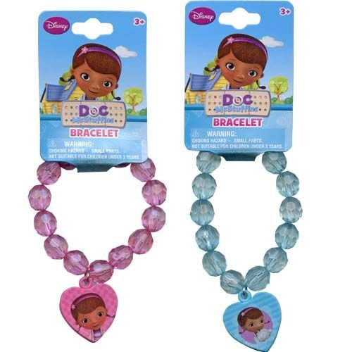 Disney Doc McStuffins Faceted Beaded Girls Bracelet with Heart Charm - Assorted Styles