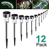 AdorioVix 12 Pack Solar Garden Lights Outdoor, Solar Powered Pathway Lights, Outdoor Landscape Light for Lawn/Patio/Yard/Walkway/Driveway (Stainless Steel, White) (Color: White)