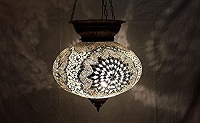 XXL white moroccan lantern mosaic hanging lamp glass chandelier light turkish candle holder m 43