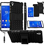Magic Global Gadgets - Black Impact Protection Heavy Duty Defender Shock Proof Case For Sony Xperia Z3 (D6603 / D6643 / D6653 / D6616 / D6633) Ultra Tough Protective Dual Layer Hard Black Cover Skin Plastic Shield And Flexible TPU Gel Skin Cover With Bui