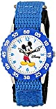 Disney Kids' W000228 Time Teacher Stainless Steel Watch with Blue Nylon Band