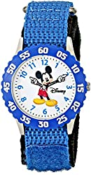 "Disney Kids' W000228 ""Mickey Mouse Time Teacher"" Stainless Steel Watch with Blue Nylon Band"