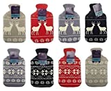Hot Water Bottle with Nordic Design Knitted Cover