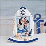 Babies Bloom Mediterranean Boat Shape Wood Frame (Photo Size : 11 X 8 CM)