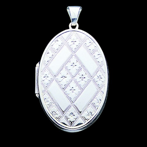Sterling Silver Quilted Oval Locket