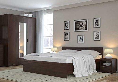 Schlafzimmer Komplett mit Doppelbett 160 x200 cm 6833 nussbaum milano