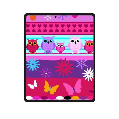 Fashion Blanket Personalized Colorful Cute Cartoon Owls With Flowers Picture Fleece Blanket 40 X 50 Machine Washable back-1039742