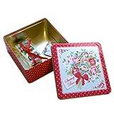 キャスキッドソン ソーイングボックス Sewing tin mini dot floral LARGE CHERRY