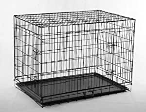 "Pawhut 48"" Two Door Dog Pet Bed House Folding Metal Crate Cage Kennel"