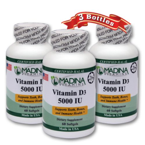 3 X Halal Vitamin D3 5000 IU - Made in USA (Halal Vitamin D compare prices)