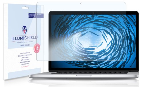 """Illumishield - Apple Macbook Pro 15"""" (2013) (Hd) Blue Light Uv Filter Screen Protector Premium High Definition Clear Film / Reduces Eye Fatigue And Eye Strain - Anti- Fingerprint / Anti-Bubble / Anti-Bacterial Shield - Comes With Free Lifetime Replacement"""