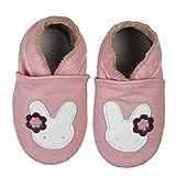 SmileBaby Premium Leder Lauflernschuhe Krabbelschuhe Babyschuhe Rosa Hase 6 bis 12 Monate