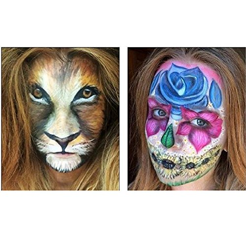[Cat /Lion 4 Color Face Painting with Brush and Animals Nose for Halloween and Parties] (Cat Makeup Halloween)