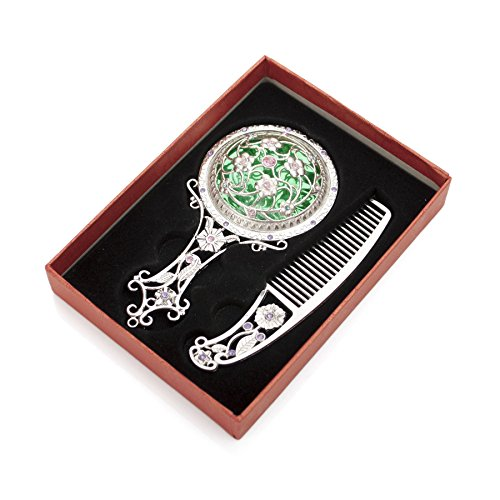 ALICE Antique Hand Mirror and Comb Set, With Gift Box, Silver or Bronze SILVER