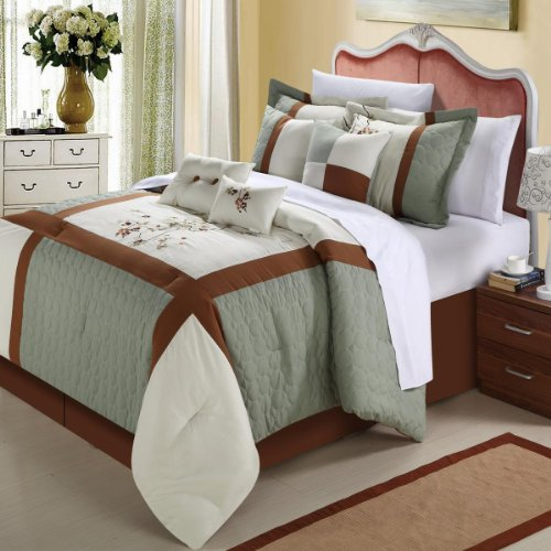 Chic Home York 8-Piece Comforter Set, King, Sage front-1000454