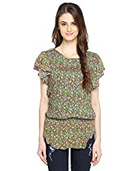 Bedazzle Floral Print Women's Green Top