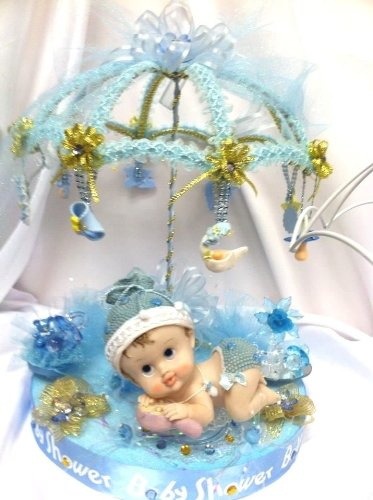 Baby Shower Baby Boy With Umbrella Centerpiece Table Decoration Hand-Crafted front-1067081