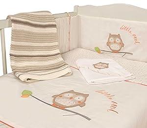 Baby Nursery Cot Cream Owl 2 Piece Unisex Bedding Bale Set Baby