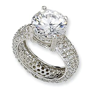Sterling Silver Fancy CZ Pave Ring