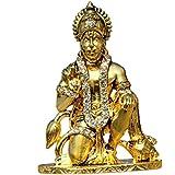 Paper Plane Design Handicraft Antique Glittering Studded Hanuman Ji Bajrang Bali Balaji Maharaj Idol For Temple For Car Accessories With Golden Coated Metal With Stones