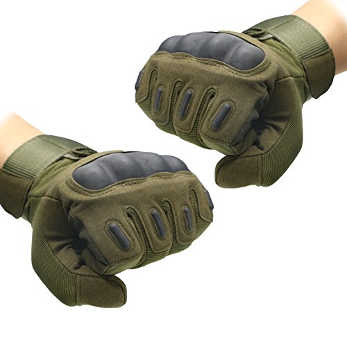 Quality Outdoor Mountain Bike Gloves Racing Riding Motorcycle Gloves Tactical Wild CS War Games Full-Cover Gloves 1 Pair Army green-L