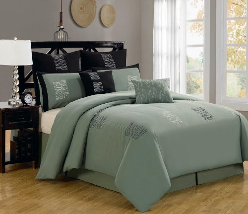 Trend  Piece Queen Arena Green Bed in a Bag w TC Cotton Sheet Set