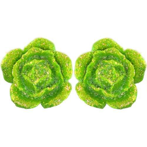Acrylic Flower Earrings with Glitter In Lime Green