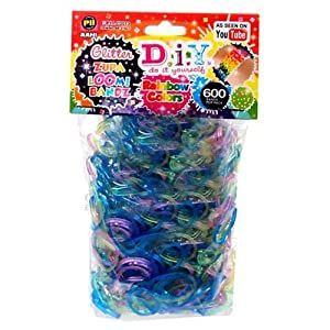 Diy Glitter Zupa Loom Bands Rainbow Colours 600ct