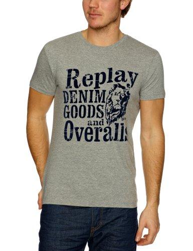 Replay M6013 Printed Men's T-Shirt Grey Melange Large