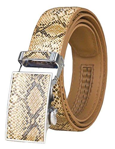 Nidicus Unique Snakeskin Print Ratchet Automatic Buckle Mens Jeans Leather Belt Camel