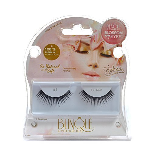 Blinque 100% Human Hair False Eyelashes 6 Pairs,Color# 1 by Blinque eyelash
