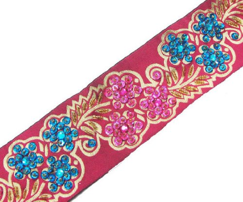 3 Yd Pink Fabric Sequin Beaded Ribbon Trim Sewing Lace