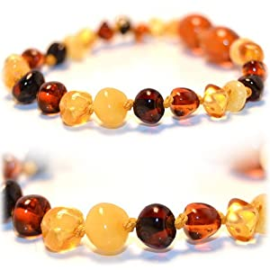 The Art of CureTM *SAFETY KNOTTED* (MULTICOLORED) Bracelet -(Unisex) - Certified Baltic Amber Baby Teething bracelet Highest Quality Guaranteed- Anti Flammatory, Drooling & Teething Pain. Easy to Fastens with a Twist-in Screw Clasp Mothers Approved Remedies!