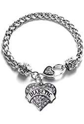 Diabetic Awarness 1 Carat Classic Silver Plated Heart Clear Crystal Charm Bracelet Jewelry