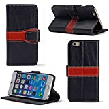 Bear Motion for iPhone 6 4.7 - Luxury 100% Genuine Buffalo Hide Leather Wallet Folio Case for iPhone 6 4.7 (Black / Red)
