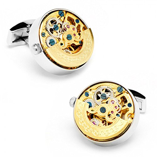 Stainless Steel Gold Kinetic Watch Movement Cufflinks