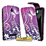 Accessory Master Leather Phone Cover for Sony Xperia E C1505 with Purple Flowers Motif