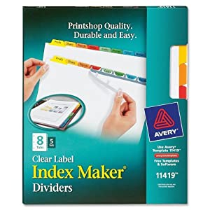 Avery index maker label dividers easy apply for Avery 8 tab clear label dividers template