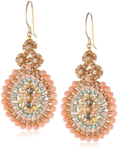 Miguel Ases Pink Coral Outlined Small Oval Drop Earrings