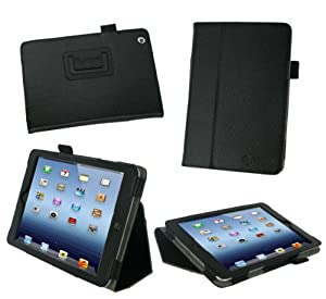 rooCASE Apple iPad Mini Case - Slim Folding Dual-Station Case Tablet, BLACK (With Smart Cover Auto Wake / Sleep)