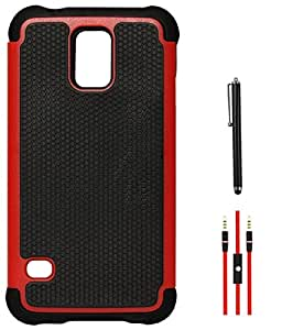DMG Rugged Dual Hybrid Shell Case for Samsung Galaxy S5 G900 (Red) + AUX Cable + Stylus